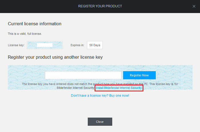 What to do if I installed the wrong Bitdefender 2015 product? (my license key is for another ...