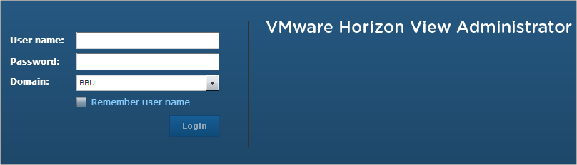 VMware Horizon View Administrator login