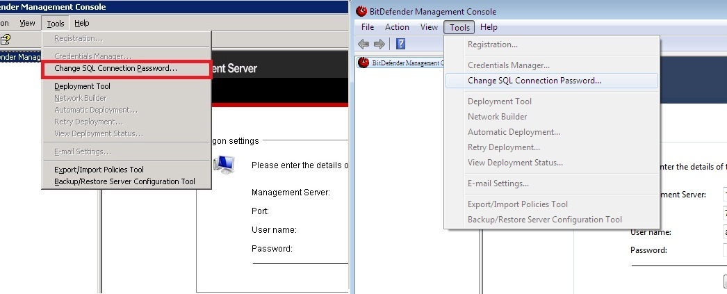 Bitdefender Management Server Passwords